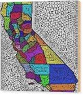 Decorative Map Of California Wood Print