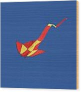 Deep Blue Sky And Kite Wood Print