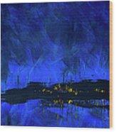 Deep Blue Triptych 2 Of 3 Wood Print
