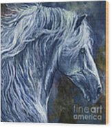 Deep Blue Wild Horse Wood Print