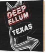 Deep Ellum In Red Wood Print