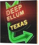 Deep Ellum Red Glow Wood Print