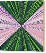 Deep Green And Pink Wood Print