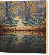 Deep Pond Reflections Wood Print