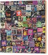 Deep Purple Collage Wood Print