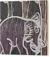 Deep Purple Elephant Painting In The Forest. Wood Print