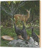 Deer And Wild Turkeys Wood Print