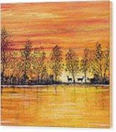 Deer At Sunset Wood Print