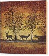 Deer At Sunset On Damask Wood Print
