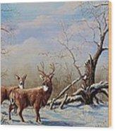Deer In Crete Wood Print