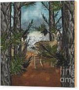 Deer In Pine Forest Wood Print