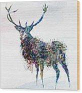 Deer In Watercolor Wood Print