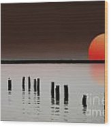 Deer Island Sunset Wood Print