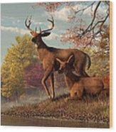 Deer On An Autumn Lakeshore  Wood Print