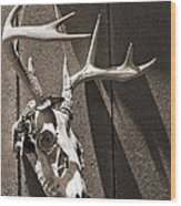 Deer Skull In Sepia Wood Print by Brooke T Ryan