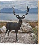 Deer Statute On Antelope Island  Wood Print