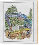 Deere For Hire2 - Excavator - Digger Wood Print
