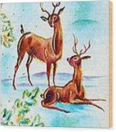 Deers Break Wood Print