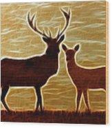 Deers Lookout Wood Print