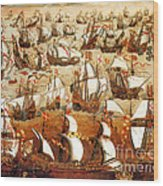 Defeat Of The Spanish Armada 1588 Wood Print