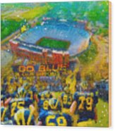 Defending The Big House Wood Print