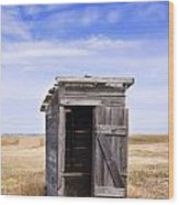 Defunct Outhouse At Rural Elementary School Wood Print