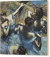 Degas, Edgar 1834-1917. Blue Dancers Wood Print