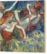 Degas' Four Dancers Up Close Wood Print