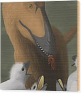 Deinonychus Dinosaur Feeding Its Young Wood Print by Michele Dessi
