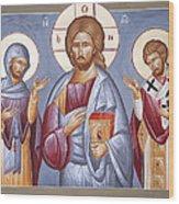 Deisis Jesus Christ St Anastasios And St Eleftherios Wood Print