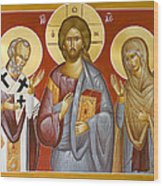 Deisis Jesus Christ St Nicholas And St Paraskevi Wood Print