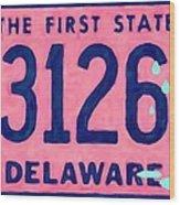 Delaware License Plate Wood Print