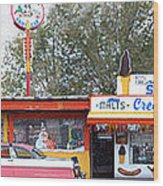 Delgadillo's Snow Cap Drive-in On Route 66 Panoramic Wood Print