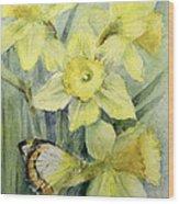 Delias Mysis Union Jack Butterfly On Daffodils Wood Print