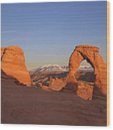 Delicate Arch At Sunset-2 Wood Print by Alan Vance Ley