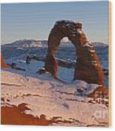 Delicate Arch With Snow At Sunset Arches National Park Utah Wood Print