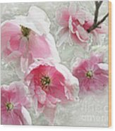 Delicate Tree Peonies Branching Out Wood Print