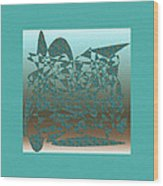 Delicate Turquoize Stroke Wood Print