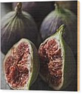 Delicious Figs On Wooden Background Wood Print