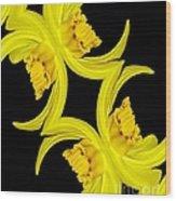 Delightful Daffodil Abstract Wood Print