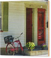 Delivery Bicycle By Two Red Doors Wood Print