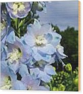 Delphinium With Cloud Wood Print