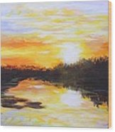 Delta Bayou Sunset Wood Print