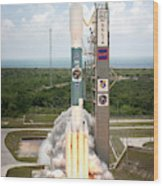 Delta II Launch With Space Telescope Wood Print