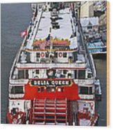 Delta Queen In Christmas Snow Wood Print by Tom and Pat Cory