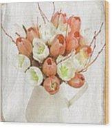 Deluxe Peach Tulips Wood Print