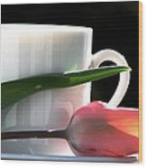 Demitasse And Tulips Wood Print