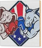 Democrat Donkey Republican Elephant Mascot Boxing Wood Print