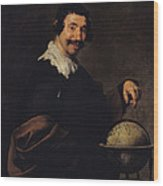 Democritus, Or The Man With A Globe Oil On Canvas Wood Print