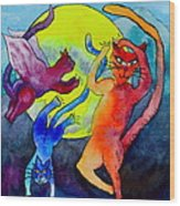 Demon Cats Dance By The Light Of The Moon Wood Print by Beverley Harper Tinsley